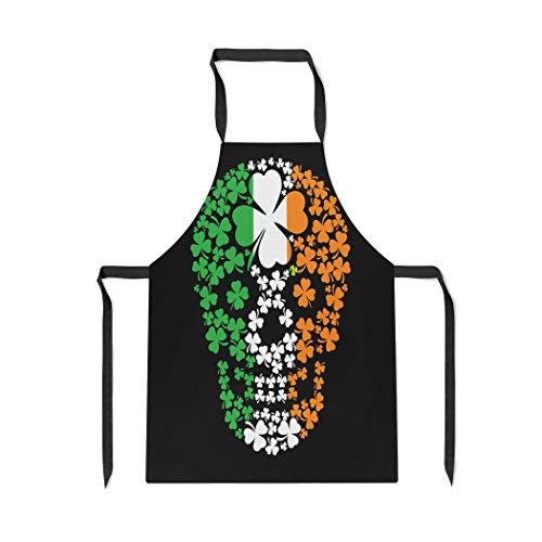 Pinbeam Apron Green Pirate Irish Skull Clover Vintage Halloween Ireland with Adjustable Neck for Cooking Baking Garden]()