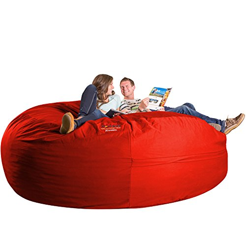 Xorbee 8-Foot Foam-Filled Bean Bag Chair in Twill, Fire Engine Red Bean Bag Red Twill