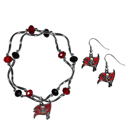 Siskiyou NFL Tampa Bay Buccaneers Dangle Earrings & Crystal Bead Bracelet Set