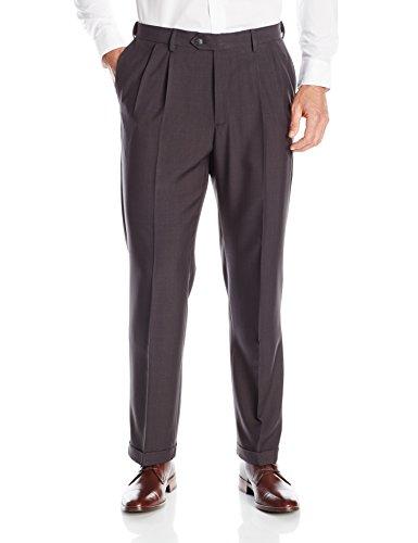 Pleated Dress Slacks (Haggar Men's Repreve Stria Gab Expandable Waist Pleat Front Dress Pant, Charcoal, 42x30)