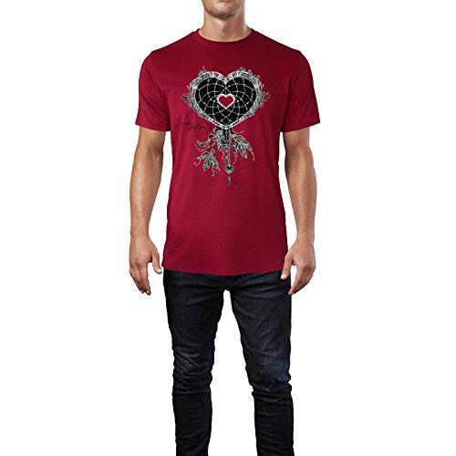 SINUS ART ® Herzförmiger Traumfänger mit Federn Herren T-Shirts in Independence Rot Fun Shirt mit tollen Aufdruck
