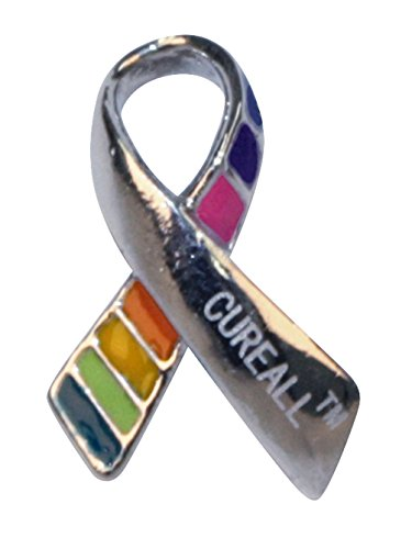 Cancer Pin (CUREALL Cancer Awareness Multi-Color Lapel Pin)