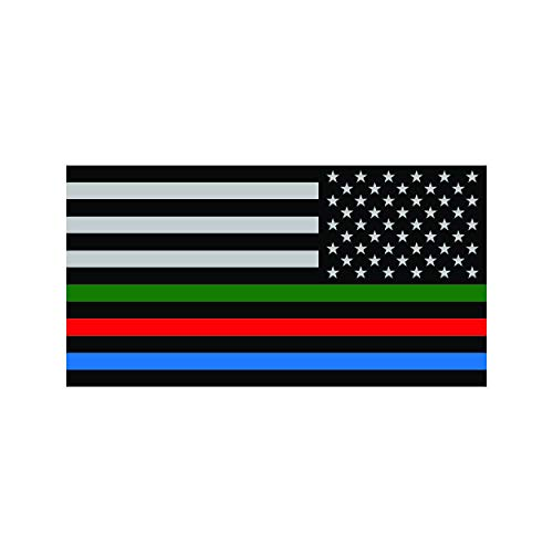fagraphix Reverse Thin Blue Line USA Flag with Red Blue Green Stripe Sticker Self Adhesive Vinyl Decal American Flag