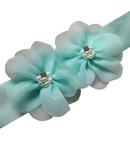 Lemandy A19 Special Two Organza Pearls Wedding Belts Wedding Sashes in 6 Colors (Mint green)