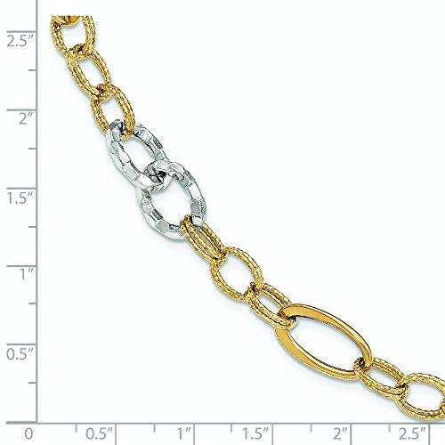 Or bicolore 14carats texturé-Bracelet Lien-20cm