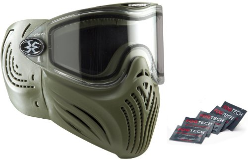 Empire Invert Helix Thermal Lense Paintball Mask Anti-Fog Goggle Olive w/5 Fogtech DX Anti-Fog Wipes