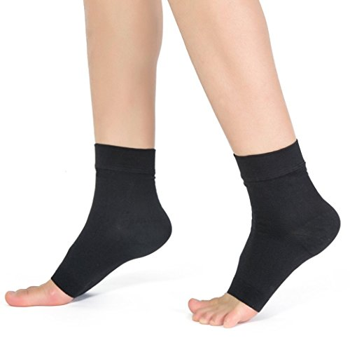 Medical Foot Care Compression Sock Elastic Breathable Ankle Brace Women Men Support,Pain Relief Ankle Sleeve for Unisex Ankle Swelling,Plantar Fasciitis and Sprained Injury Recovery (Black,L/XL)