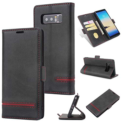 AKOPUGA Cell Phone Case Compatible with Galaxy Note8 - PU Leather Flip Case with Kickstand Card/Cash Slots Magnetic Closure Protective Cover for Samsung Galaxy Note8 - Black