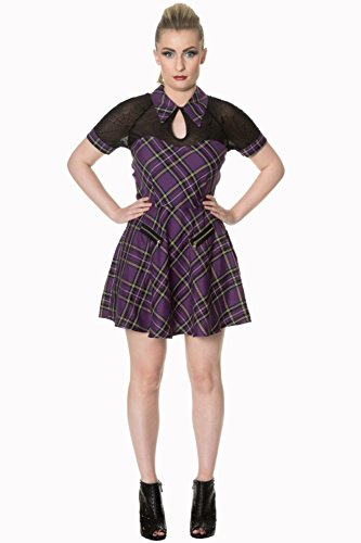 Banned Crepuscolo di bellezza alternativa Tartan Vestitino - - Purple Tartan / L