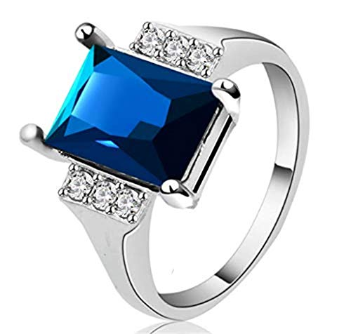 - Haluoo Women's Big Diamond Ring Silver Asscher Cut Cubic Zirconia CZ Solitaire Engagement Ring Gemstone Birthstone Topaz Eternity Statement Rings (7(Sterling Silver), Blue)