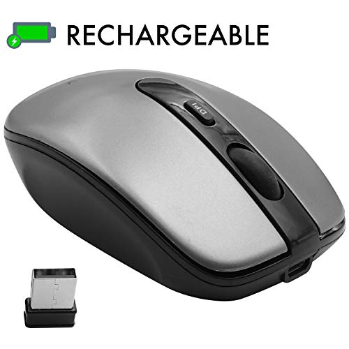Macally Rechargeable Wireless Mouse with 3 Button, Smooth Scroll Wheel, 3 Adjustable DPI, 2.4G Dongle Receiver, Compatible with PC Laptop Computer, Apple MacBook Pro/Air, iMac, Mac Mini - Dark Gray ()
