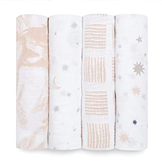 Aden by aden + anais Swaddle Blanket, Muslin Blankets for Girls & Boys, Baby Receiving Swaddles, Ideal Newborn Gifts, Unisex Infant Shower Items, Wearable Swaddling Set, 4 Pk, to The Moon