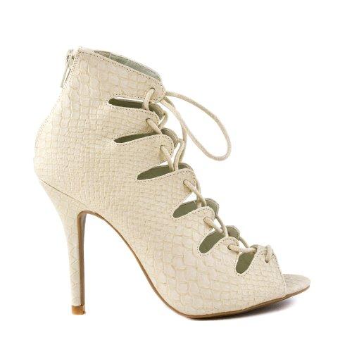 Jenson45a Stone Snake Pu Lace Up Cutout Peep Toe Bootie Ankle Pump High Heel-7.5
