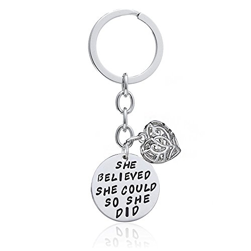 Family Friend Gift Silver She Believed She Could So She Did Double Pendant Key Chain Ring for Women Girl (Style A)