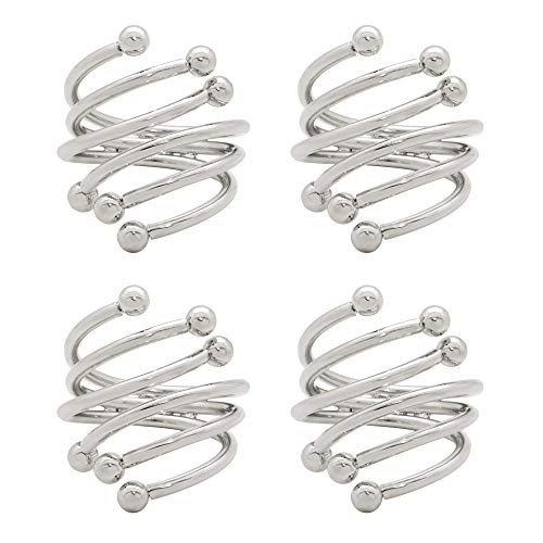 C&L Accessories Silver Napkin Rings Set of 4 for Wedding Home Kitchen Dining Room Table,Family Gatherings