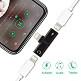 Elastos Splitter Compatible with iPhone 7,7 Plus,8, 8 Plus,X,Xs,Xr iPad, iPad Pro, Dual Ports, Adapter, Headphone Jack Audio + Charge Cable Adapter, Sync,Music Control,Charge Function, iOS 12 or Elast
