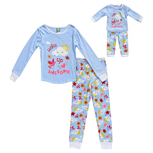 Dollie & Me Girls' Apparel Snug Fit Sleepwear Set and Matching Doll Outfit in, Blue/Multicolor Size 10 ()