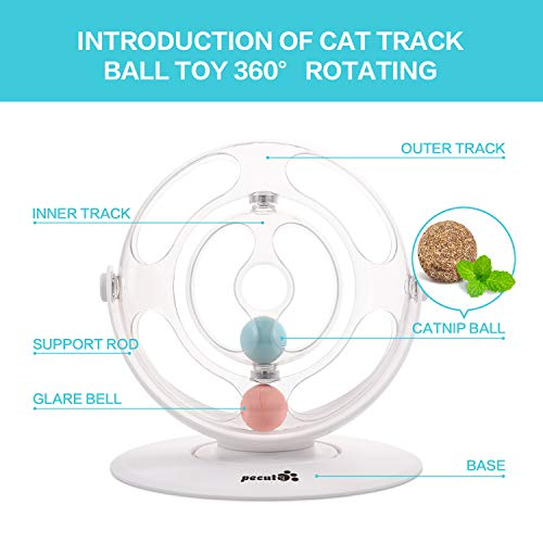 Pecute Cat Toy 360° Space Spinning Ball Toy Roller Cat Toy Mental and Physical Exercise Training Toys Equipped with Bell Dazzle Ball, Cat Mint Ball 5
