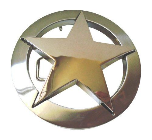 JK Trading Men's Western Texas Star Belt Buckle One Size Gold Silver