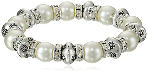 (LUREME Cream Freshwater Pearl Crystal Accent Etched Silver Tone Bead Stretch Bracelet for Women 600130)