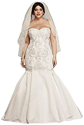 David's Bridal Lace and Satin Plus Size Mermaid Wedding Dress Style 9WG3810