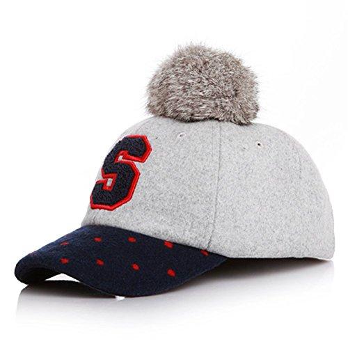 [Qingsun Kids Children Baby Retro Hat,Felt Woolen Peaked Rabbit Fur POM POM Number Equestrian Baseball Velcro Adjustable Cap] (Equestrian Costume Hat)