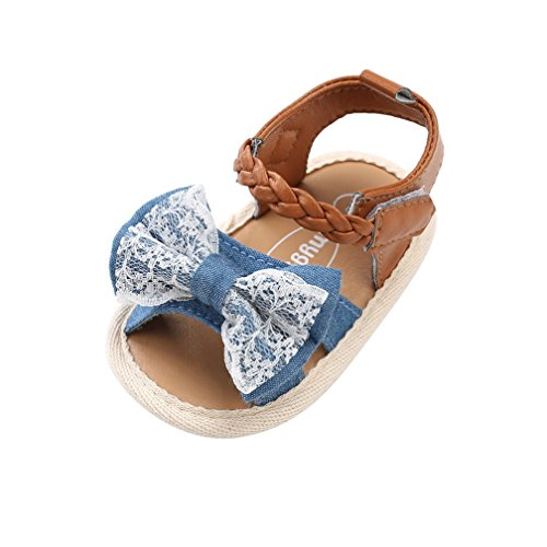 CoKate Baby Toddler Boy Girls Bow Knot Sandals First Walker Shoes (6-12Months, Lace Decor)