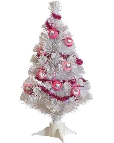 60cm 2ft Hello Kitty Pre Lit Decorated Fibre Optic Christmas Tree