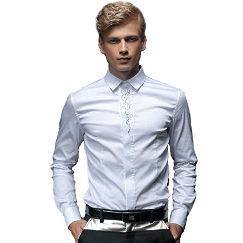 FANZHUAN Shirt Dress Floral Men Long Sleeve Solid White Button Down