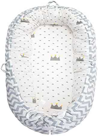 Baby Lounger, Baby Nest Crown Portable Super Soft Organic Cotton and Breathable Newborn Lounger- Perfect for Co-Sleeping