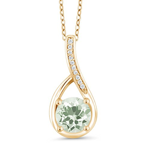 Gem Stone King 1.02 Ct Round Green Prasiolite and Diamond 18K Yellow Gold Plated Silver Infinity Pendant ()