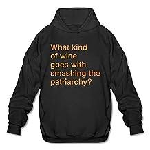 Jiuyuan Men's Pullover Hooded Sport Sweatshirt Wine Patriarchy Feminist March8 Casual Warm Hoodies No Pocket