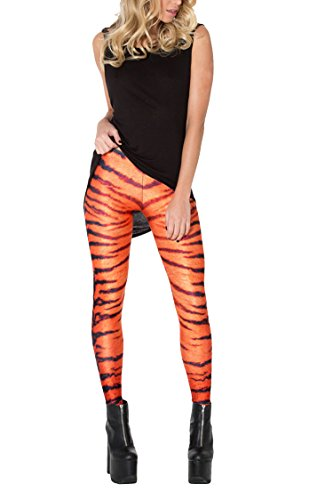 (Timemory Womens Halloween Leggings Stretch Tights Cosplay Costumes Tiger Stripes #S/M)
