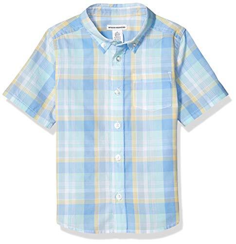 (Amazon Essentials Big Boys' Short-Sleeve Poplin/Chambray Shirt, Plaid Blue/Teal, M (8))