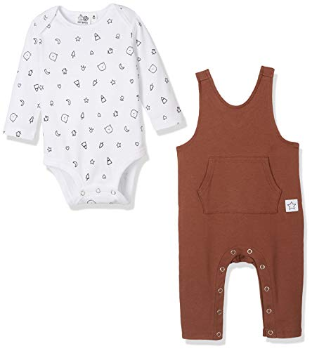 Silly Apples Pure Cotton Unisex Baby 2-Piece Long-Sleeve Bodysuit and Romper Onesies Outfit Set (NB) -