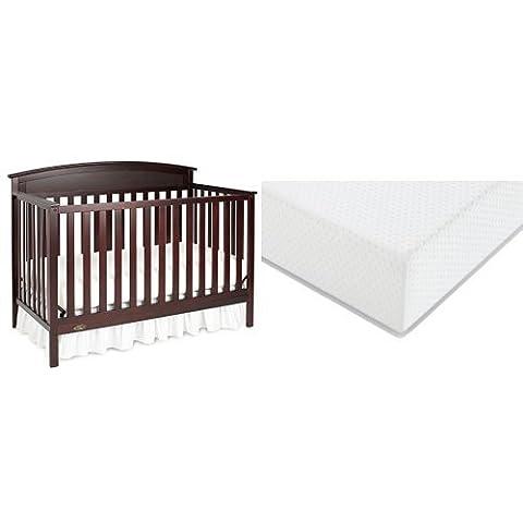Graco Benton Convertible Crib + Graco Premium Foam Crib and Toddler Bed Mattress, Espresso (Graco Crib Benton)