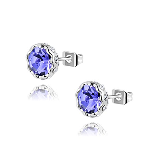 Price comparison product image Duo La Elegant Sterling Silver Snow Lotus Purple Cubic Zirconia Simple Fashion Lady Stud Earrings