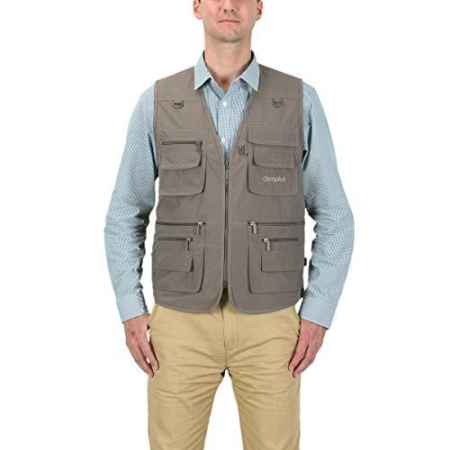 Hunting Down Vest (LUSI MADAM Men's Poplin Outdoors Travel Sports Pockets Vest US XL/Asia 4XL Coffee)