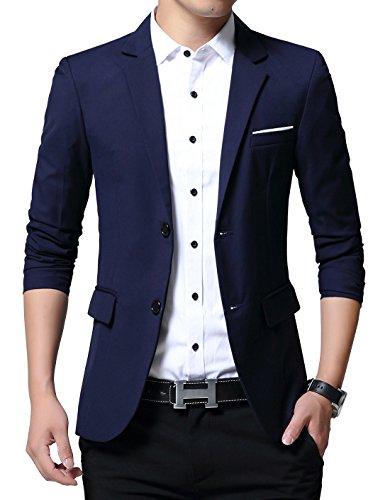 XTAPAN Men's Blazer Jacket Slim Fit Casual Two Button Lightweight Blazer Suits Coats Asian 2XL Dark Blue ()