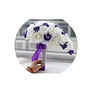 Purple White Bridal Bouquet Artificial Waterfall Flowers Bridesmaid Romantic Handmade PE Wedding Bouquet for Bride 100