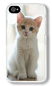 Cute Little Kitty Custom iPhone 4S Case Back Cover, Snap-on Shell Case Polycarbonate PC Plastic Hard Case Transparent