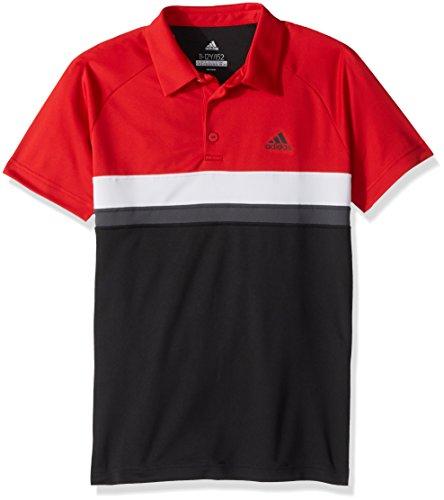 adidas Youth Tennis Boys Club Color Block Polo, Black, Large