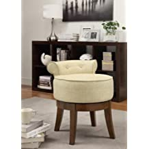 Coaster Home Furnishings 900121 Linen Fabric Swivel Vanity Stool, Beige