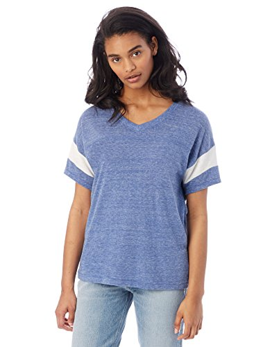 Blue Powder Puff (Alternative Women's Eco Jersey Powder Puff Tee, Eco Pacific Blue/Eco Ivory, X-Large)