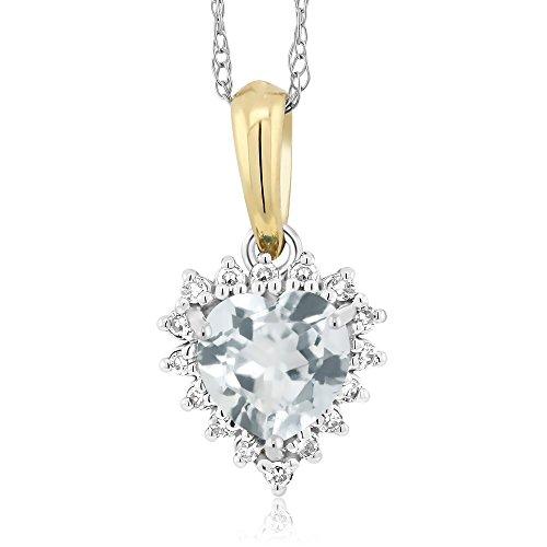 Gem Stone King 18K 2-Tone Aquamarine and Diamond Heart Shape Pendant 0.38 Ct