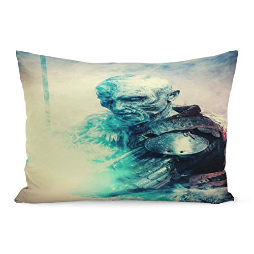 Emvency Throw Pillow Covers White Demon Halloween Frozen Snow Covered Zombie Warrior Pillow Case Cushion Cover Lumbar Pillowcase Decoration for Couch Sofa Bedding Car Home Decor 20 x 36 -