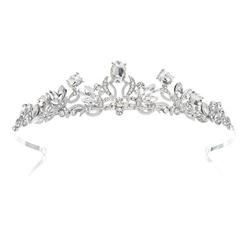 SWEETV Pétillant Strass Couronne Cristal Princesse Diadème Mitzvah Mariage Accessoires de Cheveux