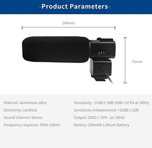 MeterMall CM530 Video Recording Stereo Microphone for DSLR Stereo Camera Camcorder Cardioid Mic for Ordro//Sony//Nikon//Canon DV Black
