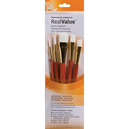 Princeton Art & Brush Real Value Synthetic Brush Set, Round Size 8, Liner Size 2, Angular Shader Size 1/2, Wash Size 1/2 and 3/4, White Taklon
