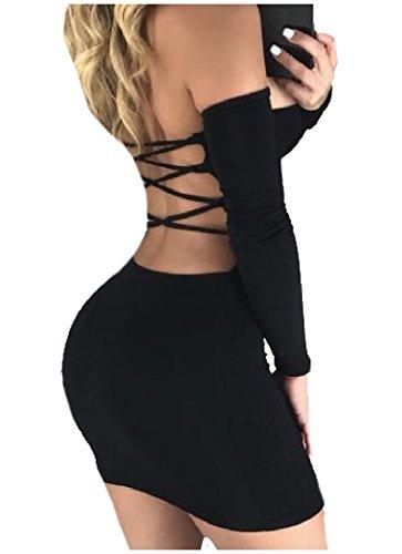 Confortable Femmes Bandage Sans Bretelles Solides Manches Longues Mini Noir Robe Sexy